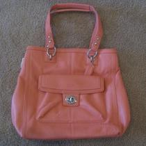 Coach Penelope Leather Coral Pink North South Handbag Bag Tote Purse- 19264 Photo