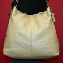 Coach Penelope Pearlescent Off White Leather Shoulder Hobo Zip Bag Purse 19754 Photo