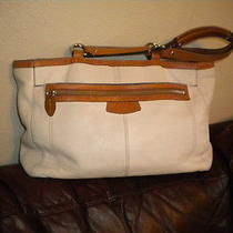 Coach Penelope Pebbled Leather Off White/cognac Tote /shoulder Bag Photo