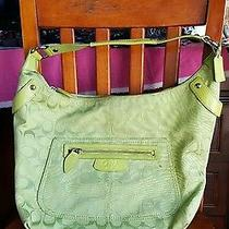 Coach Penelope Signature Jacquard Large Hobo Handbag Green F14691 Photo