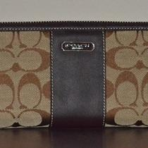 Coach Penelope Signature Khaki  Mahogany Leather Zip Around Wallet Nwt Photo