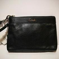 Coach Perforated C Logo Black Leather Wristlet F45561 New With Tags & Dust Bag Photo