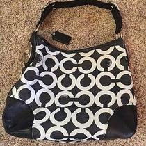 Coach Peyton Canvas Signature Op Art Satchel Hobo/tote Bag - 14512  Black White Photo