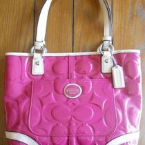 Coach Peyton Embossed Magenta Tan Pink Patent Leather Bag Tote Purse -22322 Photo