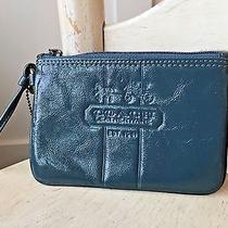 Coach Peyton Heritage Blue Dark Teal Patent Leather Wristlet Coin Purse Wallet Photo