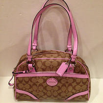 Coach Peyton Khaki Orchid Pink Satchel Bag Purse 18918 Free Shipping Photo