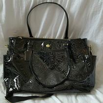 Coach Peyton Op Art Embossed Patent Multifunction Black Tote/diaper Bag F26030 Photo