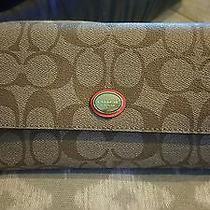 Coach Peyton Signature Checkbook Wallet - F51103 - Msrp 238 Photo