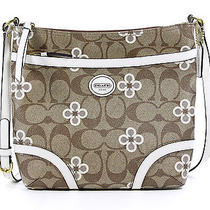 Coach Peyton Signature Clover File Bag Crossbody Purse White Multicolor New Photo