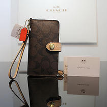 Coach Peyton Signature Phone Iphone Case Wallet Wristlet F51842 Brown/tan W/box  Photo