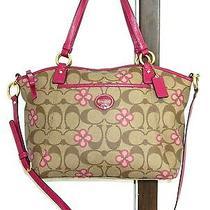 Coach Peyton Signature Pink Clover Shoulder Bag Handbag Purse Tote Photo