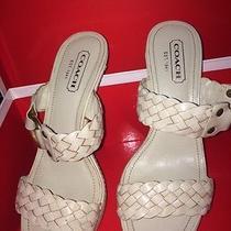 Coach Phebe Vacchetta Winter White Braided Sandal Heels New in Box 6m Italy Photo