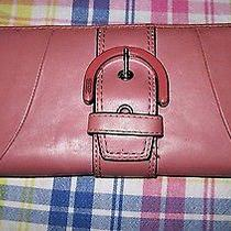Coach Pink Campbell Wallet Front Buckle Zip Around Photo