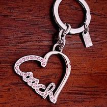 Coach Pink Heart Key Ring Rhinestone Pave Silver Script F92641 Photo