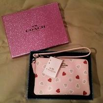 Coach Pink Heart Wallet Wristlet Printed Nib Photo