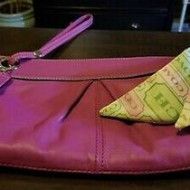 Coach Pink Kyra Leather Hobo Clutch With Scarf Photo