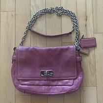 Coach Pink Leather Cross Body Chain Strap Purse Photo
