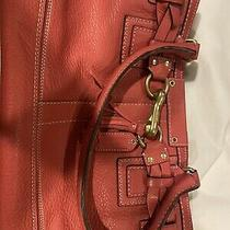 Coach Pink Leather Satchel With Braiding Around Bag Photo