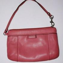 Coach Pink Leather Wristlet Pouch Wallet Clutch Photo