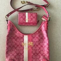 Coach Pink Magenta Heritage Stripe Hobo Handbag Purse With Matching Wallet-Nice Photo