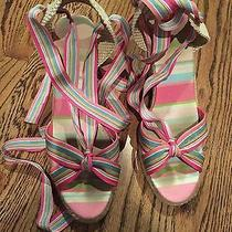 Coach Pink Multi Colored Lace Up Wedges Photo