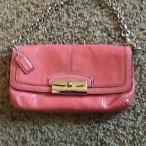 Coach Pink Patent Leather Bag Wristlet Clutch Purse Handbag Silver Strap Photo