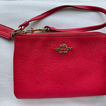 Coach Pink Pebbled Leather Zipup Wristlet Coin Purse Bag Photo