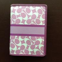 Coach Pink/purple Signature Passport Case Holder Card Wallet -Pre-Owned Photo