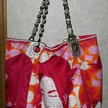 Coach Pink Red Orange Parker Photo Print Girl Tote 13405 Photo