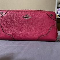 Coach Pink Ruby Pebble Leather Accordion Zip Wallet Photo