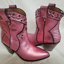 Coach Pink Studded Western Bootie With Prairie Rivets Ankle Boots Us Size 10  Photo