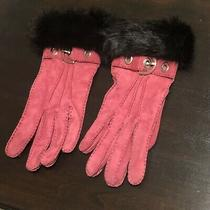 Coach Pink Suede Fur Trimmed Gloves - Size 7.5 Photo