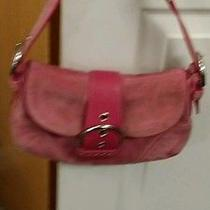 Coach Pink Suede Purse and Wristlet Photo