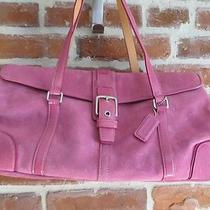 Coach Pink Suede Purse/ Handbag Suede and Patent Leather- Adorable Photo
