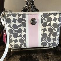 Coach Pink White Gray Signature Clutch  Wristlet Purse Wallet Photo