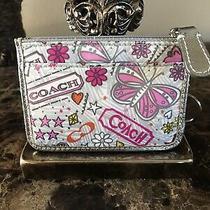 Coach Pink White Gray Signature Clutch  Wristlet Purse Wallet Authentic Photo