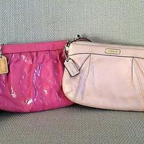 Coach Pink Wristlet/pouch Set of 2- Patent Embossed Pouch & Zip Wristlet- Read Photo
