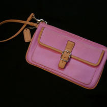 Coach Pink Wristlet -Tag - Handbag Clutch Wallet Purse - Leather & Canvas Photo