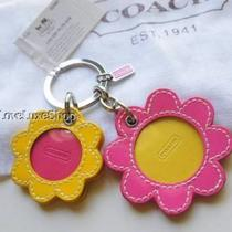 Coach Pink Yellow Leather Flower Daisy Picture Frame Key Ring Fob Purse Charm Le Photo