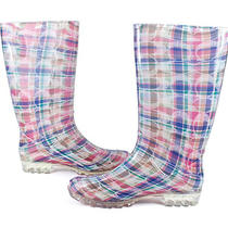 Coach Pixy Poppy Beach Plaid Silver Multi Rainboot 11 New Photo