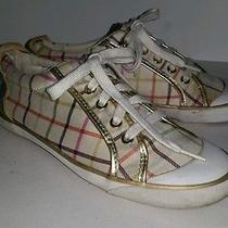 Coach Plaid Fabric Gold Metallic Trim Sneakers Athletic Shoes. 8 Photo
