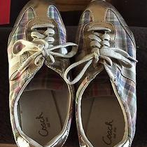 Coach Plaid & Gold Tennis Shoes Size 10 - Gently Used - No Box Photo