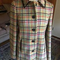 Coach Plaid Wool Coat Jacket With Leather Trims Size S in Excellent Conditions Photo