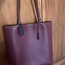 Coach Plaza Pebbled Leather Tote Boysenberry Purple Euc Bag Purse Photo