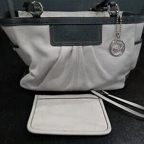 Coach Pleated East West Gallery White Grey Leather Tote W/ Wristlet L0917-F13759 Photo