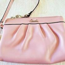 Coach Pleated Leather Ballet Pink Wristlet Photo