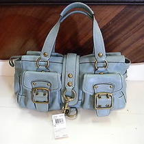 Coach Pond Blue Leather Purse Shoulder/hand Bag Multi-Color Inside Gc W/storage Photo