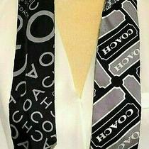 Coach Pony Tail Skinny Silk Scarf 3 Signature Logos Black & Gray Photo