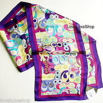 Coach Pop C Signature Graffiti Long Oblong 100% Silk Scarf 60