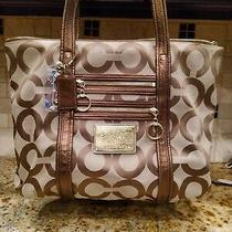 Coach Poppy Art Glam Bronze Brown Shoulder Bag Purse Handbagtote Bag  Photo